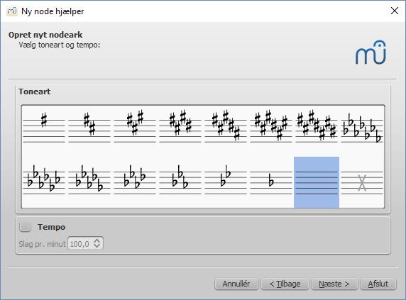 Ny node hjælper: Vælg toneart og tempo