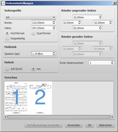 Dialog Layout / Seiteneinstellungen...