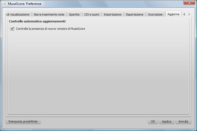 Dialog: Edit / Preferences... / Update
