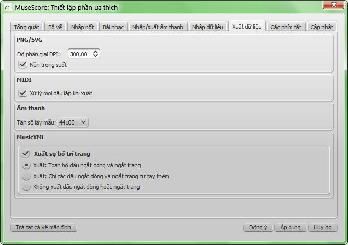 Dialog: Edit / Preferences... / Export