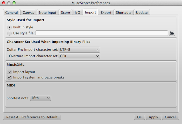 Import Preferences