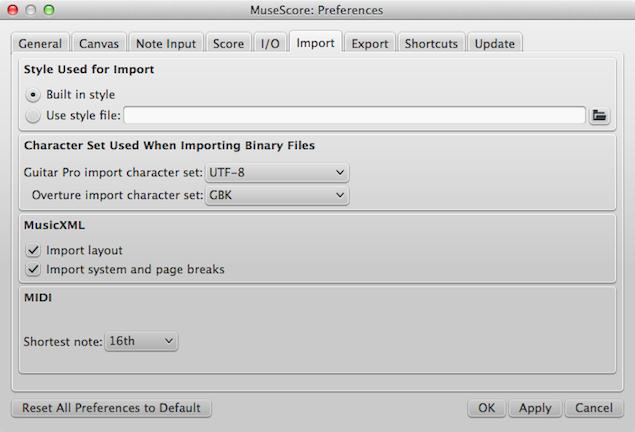 Dialog: Edit / Preferences... / Import