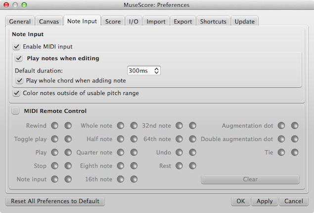 Note Input Preferences