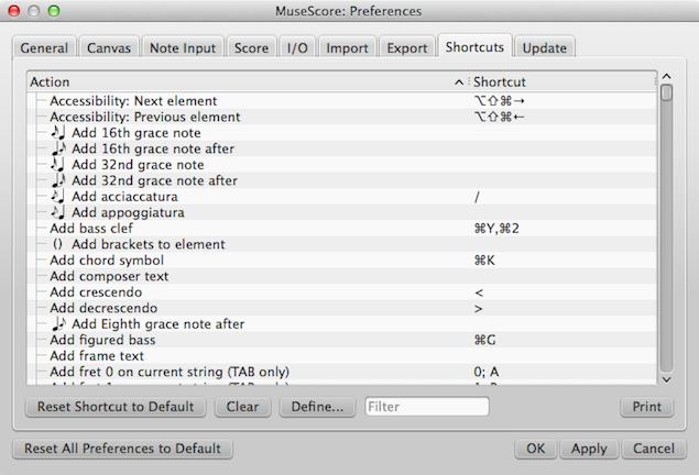 Dialog: Edit / Preferences... / Shortcuts