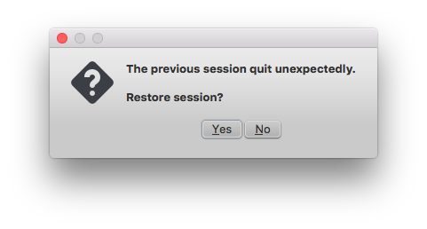 Restore session dialog