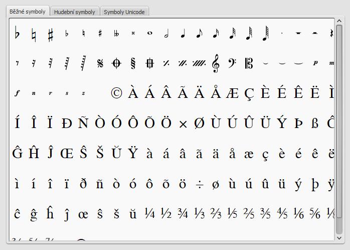 Paleta se zvláštními znaky obsahuje tlačítka pro vložení značek do textu (například čtvrťové noty), nebo zvláštních znaků (např. symbol pro autorské (kopírovací) právo: ©)