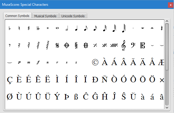 The Special Characters palette contains buttons for inserting symbols into the text (e.g. quarter note), or special characters (e.g. copyright symbol, ©)