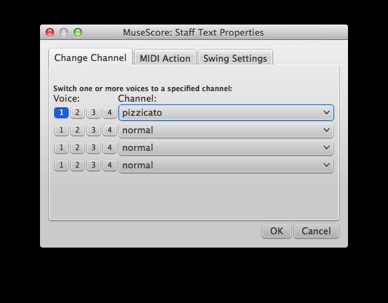 How to change instrument sound (e g  pizz , con sordino