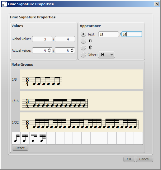 musescore how to change time signature of measure