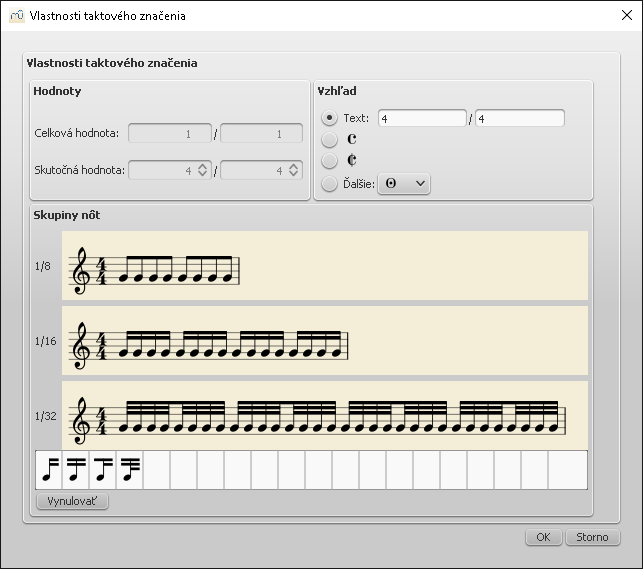 Dialog: Time signature properties