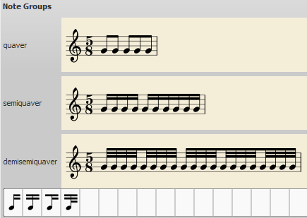 Dialog: Time signature properties with modified beaming