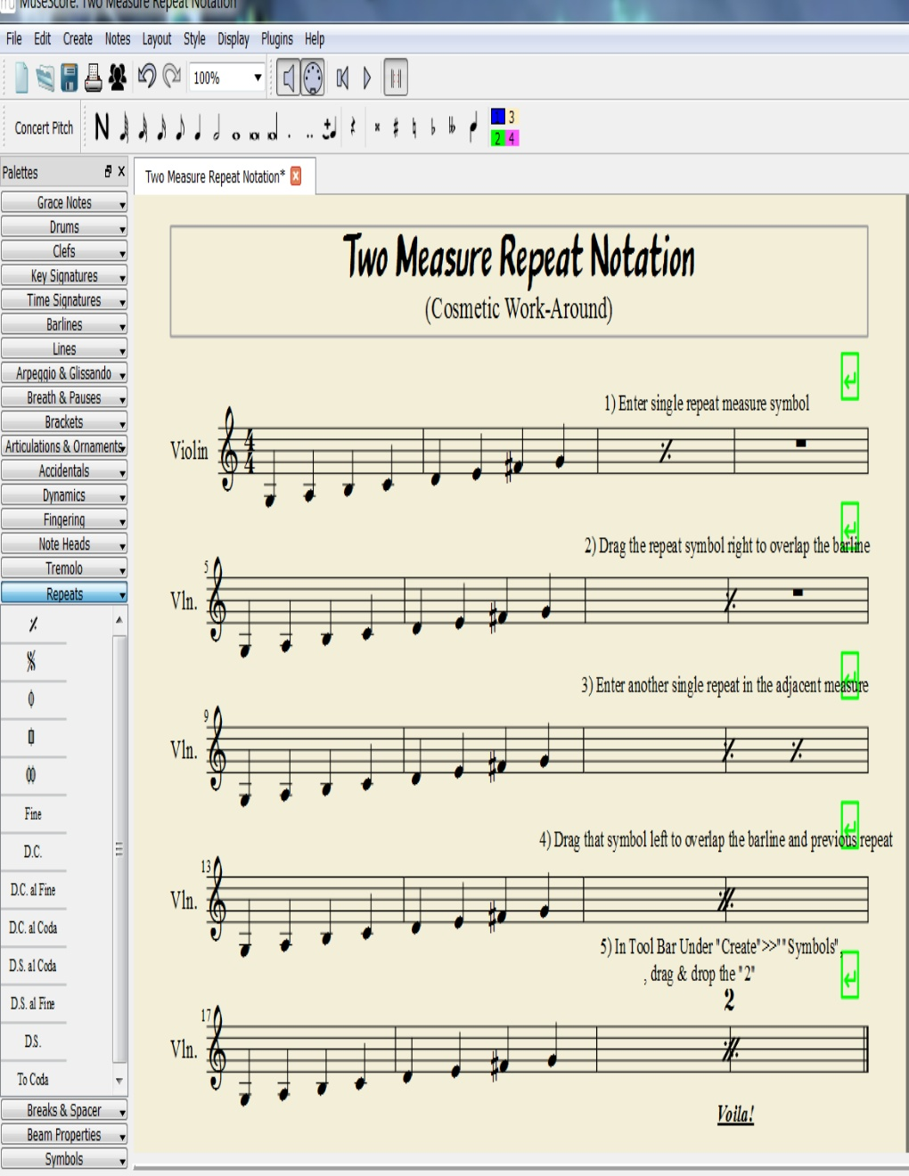 Two-Measure Repeat Sign | MuseScore