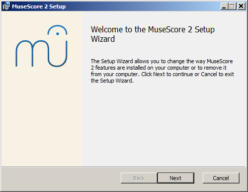 Welcome to the MuseScore 2 Setup Wizard