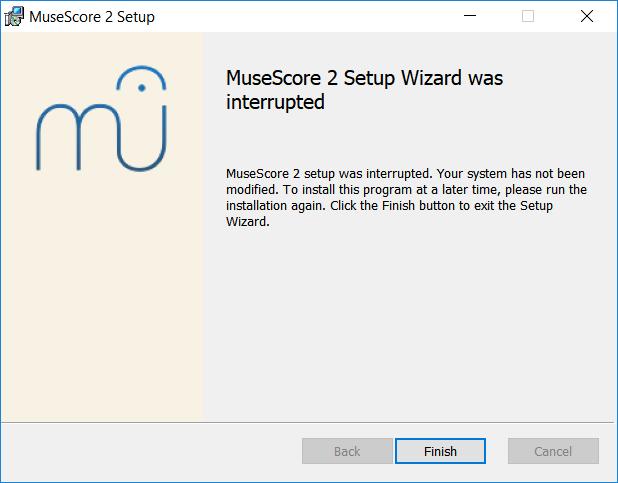 MuseScore 2 asennusavustaja keskeytettiin
