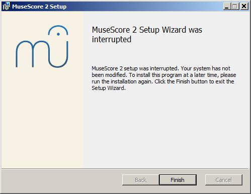 Průvodce instalací MuseScore 2 byl přerušen
