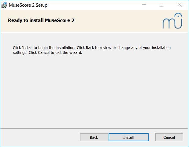 Valmis asentamaan MuseScore 2
