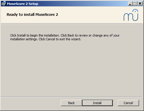 Ready to install MuseScore 2