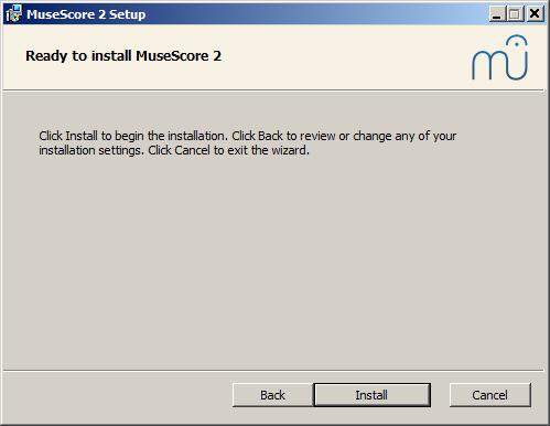 Průvodce instalací připraven nainstalovat MuseScore 2
