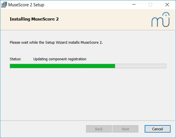 Asennetaan MuseScore 2, edistyminen