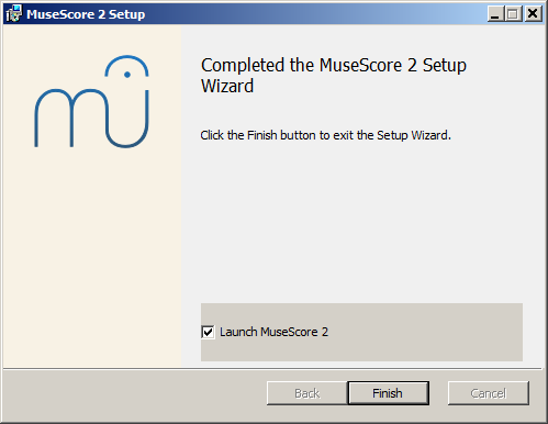 Completed the MuseScore 2 Setup Wizard