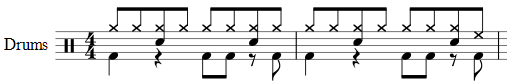 Drum notation example showing the use of two voices