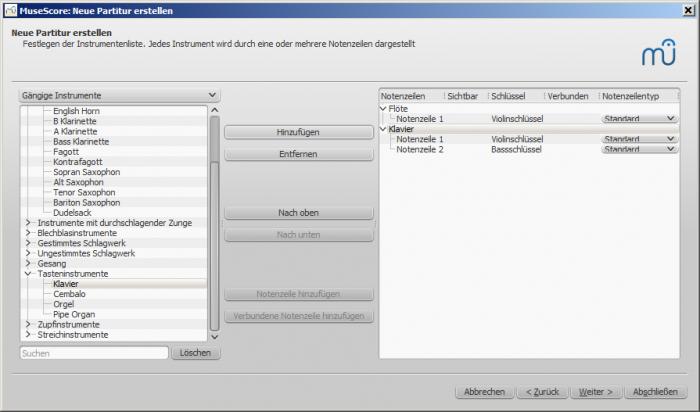 Assistent für neue Partitur: Instrumente hinzufügen