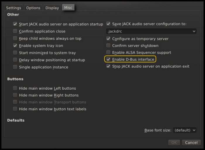 qjackctl setup window misc tab