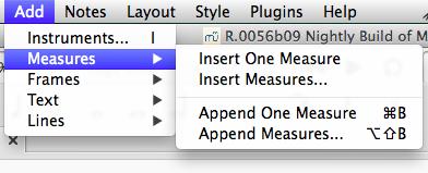 Mac OS X] Insert measure keyboard shortcut doesn't exist | MuseScore