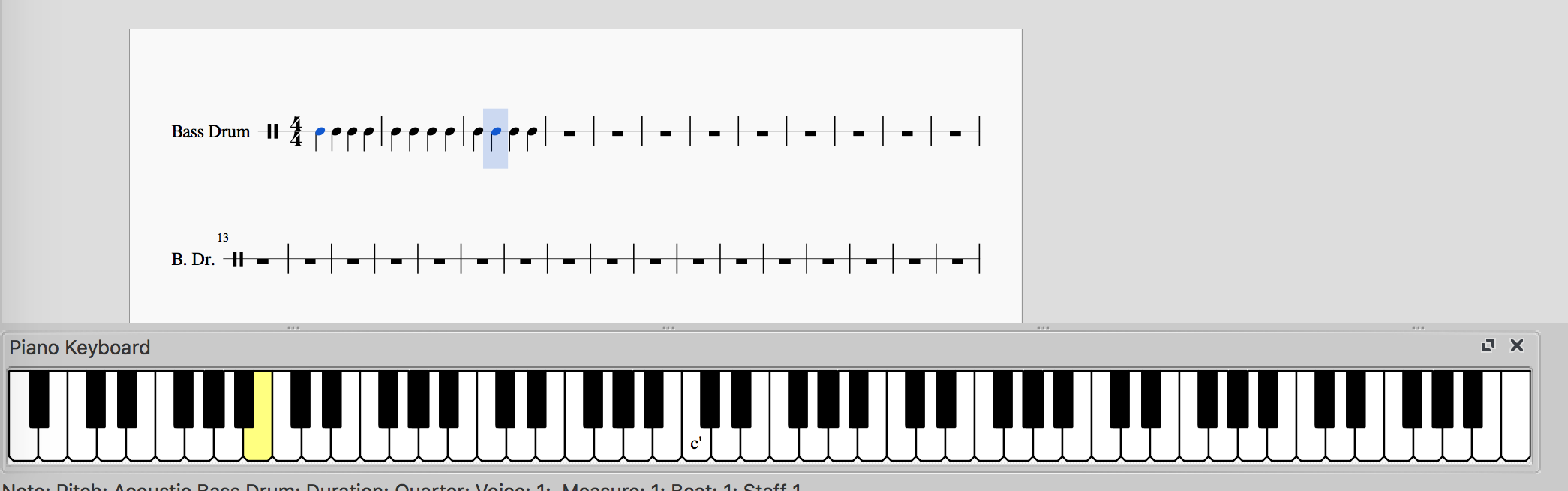 Piano Keyboard shows pressed notes for unpitched percussion