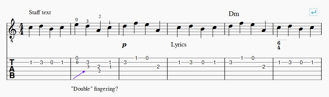 lyrics appear both in notation and TAB | MuseScore