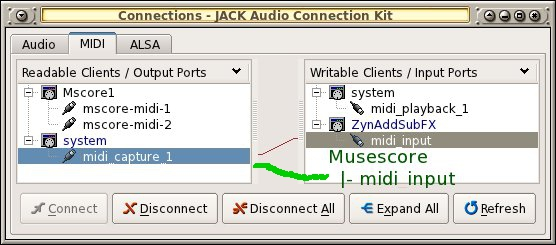 Midi input over jack capture on Linux   MuseScore