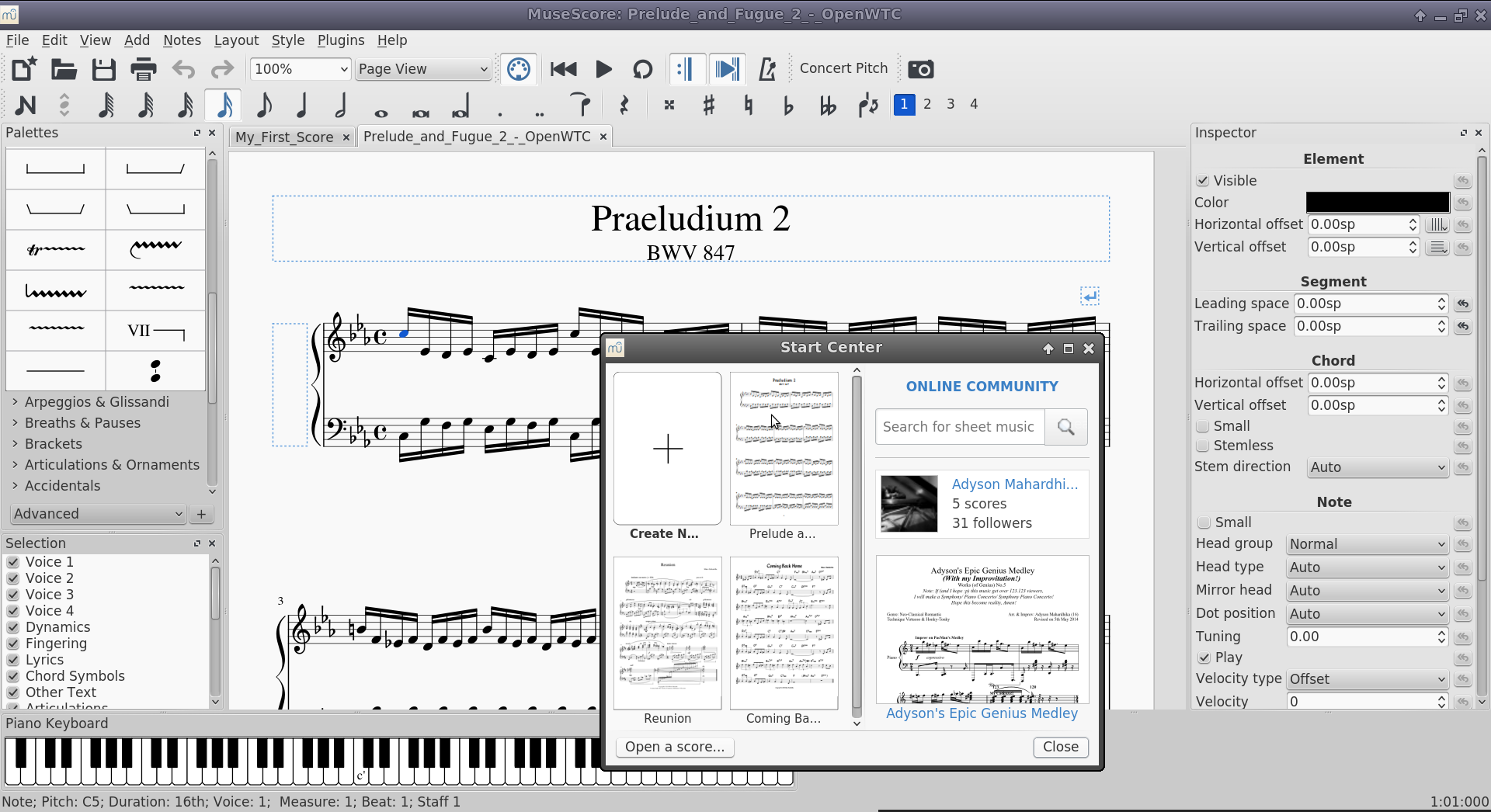 Captura de pantalla do MuseScore 2
