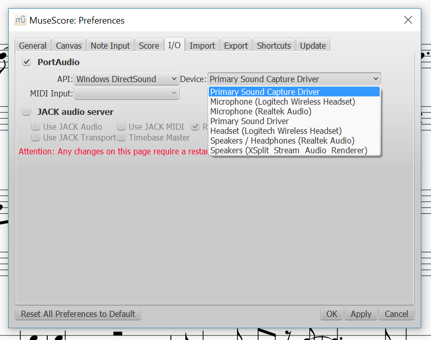MuseScore refuses to play audio through bluetooth headset