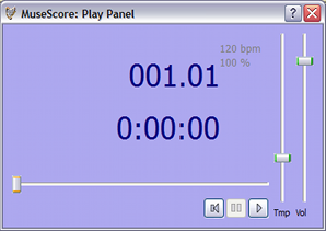 The play panel allows you to adjust tempo and volume