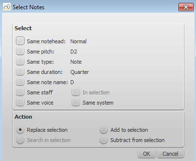 Selection Modes Musescore