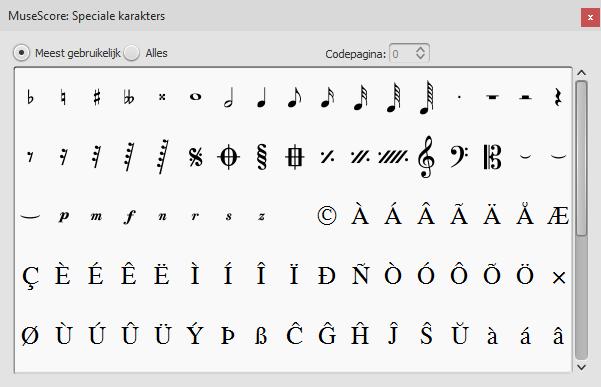 Het Speciale karakters palet bevat knoppen om symbolen (bv. een kwartnoot) of speciale karakters (bv. copyright symbool, ©) in de tekst toe te voegen