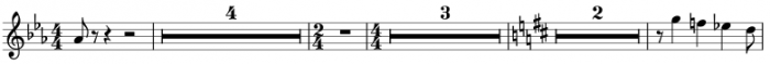 Example with multimeasure rests