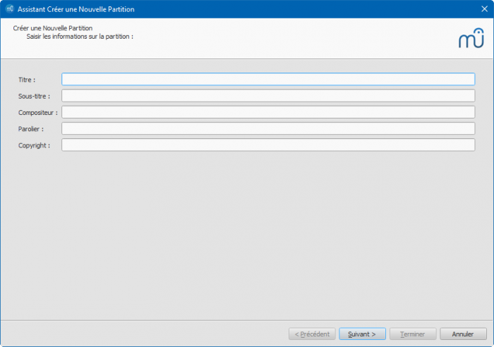 Assistant Créer une nouvelle partition : Titre, Sous titre, etc.