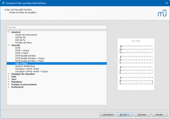 Assistant Créer une nouvelle partition : Choisir un modèle