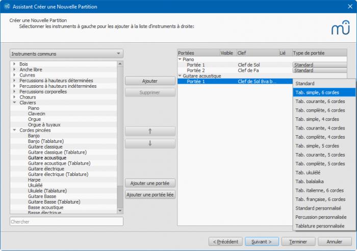 Assistant créer une nouvelle partition : Ajouter une portée