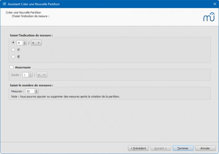 Assistant créer une nouvelle partition : Choisir l'indication de mesure et les options de mesures