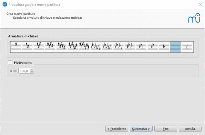 Procedura guidata nuova partitura: Select key signature