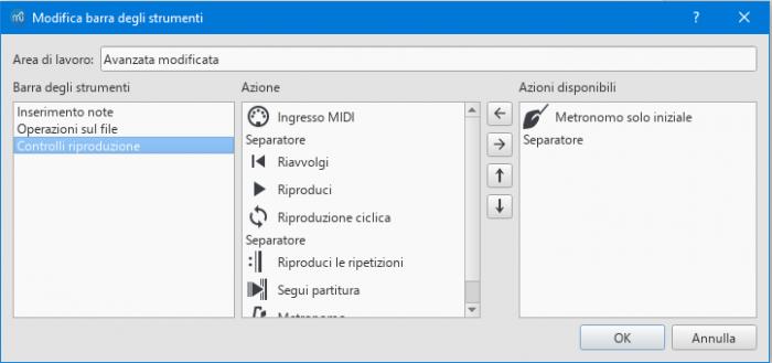 Customize toolbars dialog