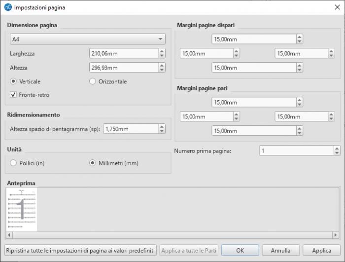 Formato / Finestra Impostazioni pagina