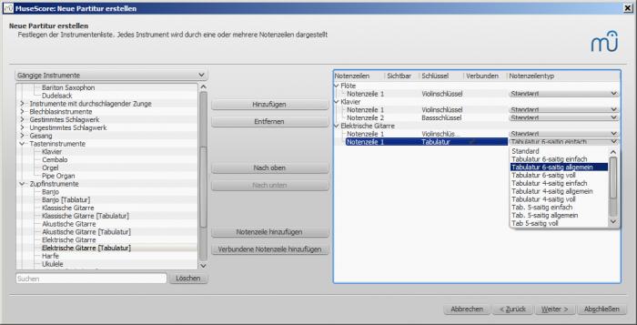 Assistent für neue Partitur: Verbundene Notenzeile hinzufügen