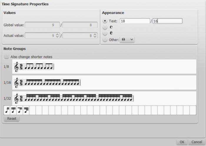 Dialog: Time signature properties