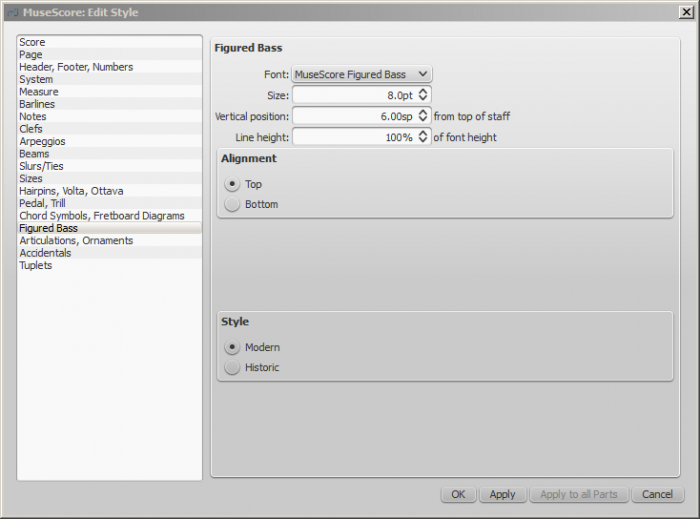Configuration dialog box