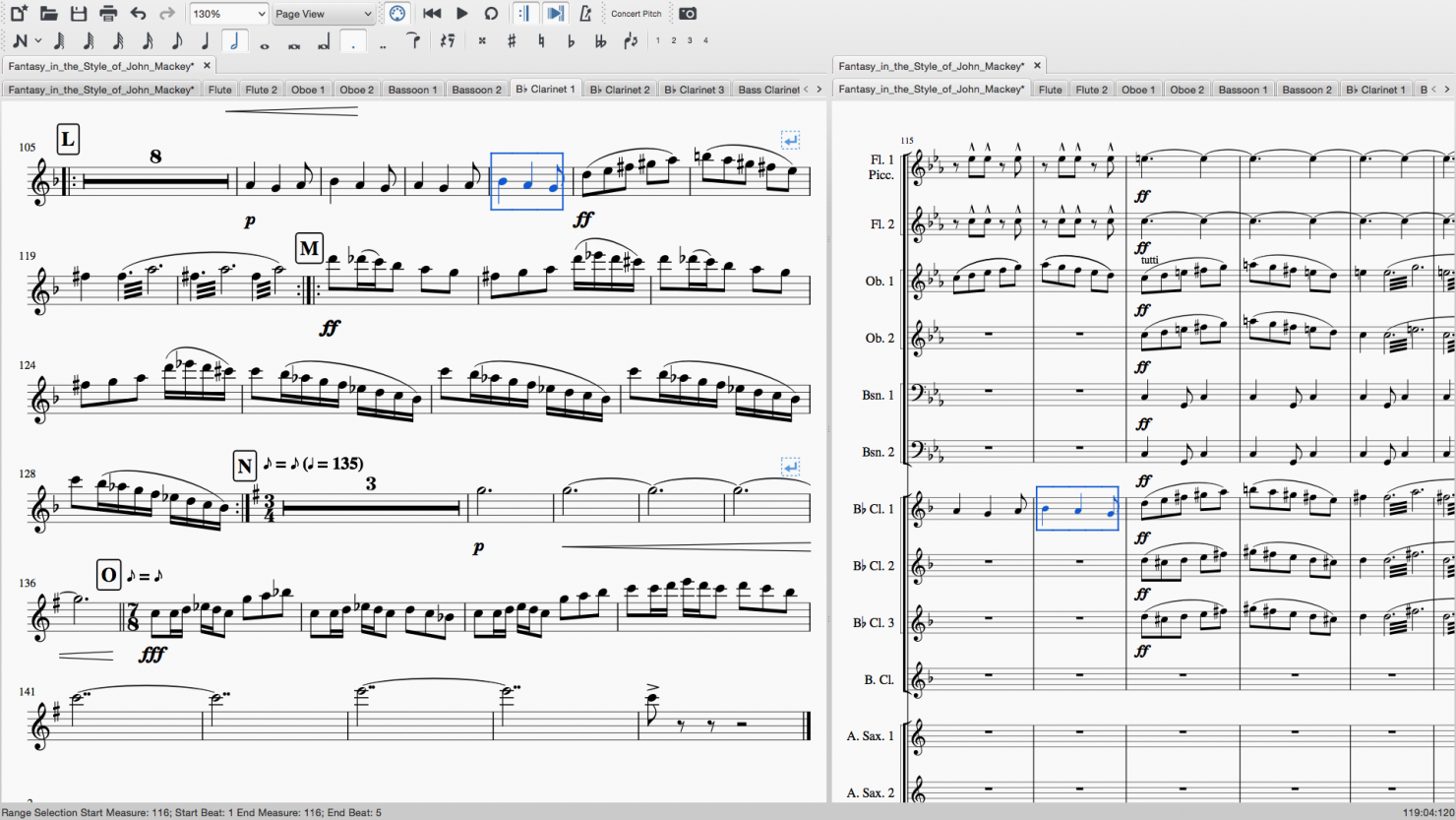 Linked part editing in a wind symphony score in MuseScore