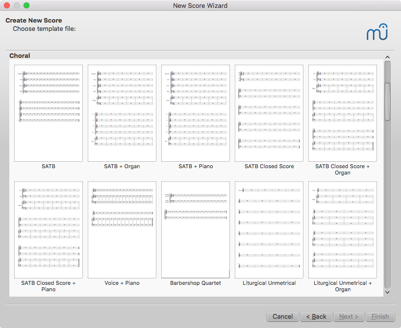 Choral templates in MuseScore's new score setup wizard