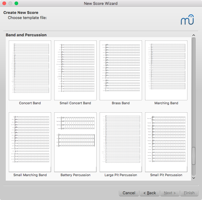 Band templates in MuseScore's new score setup wizard